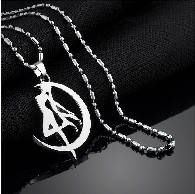 Sailor Moon Tsukino Usagi Moon Stick Pendant Necklace Anime Cosplay Necklace Jewelry Women Sweater Accessaries
