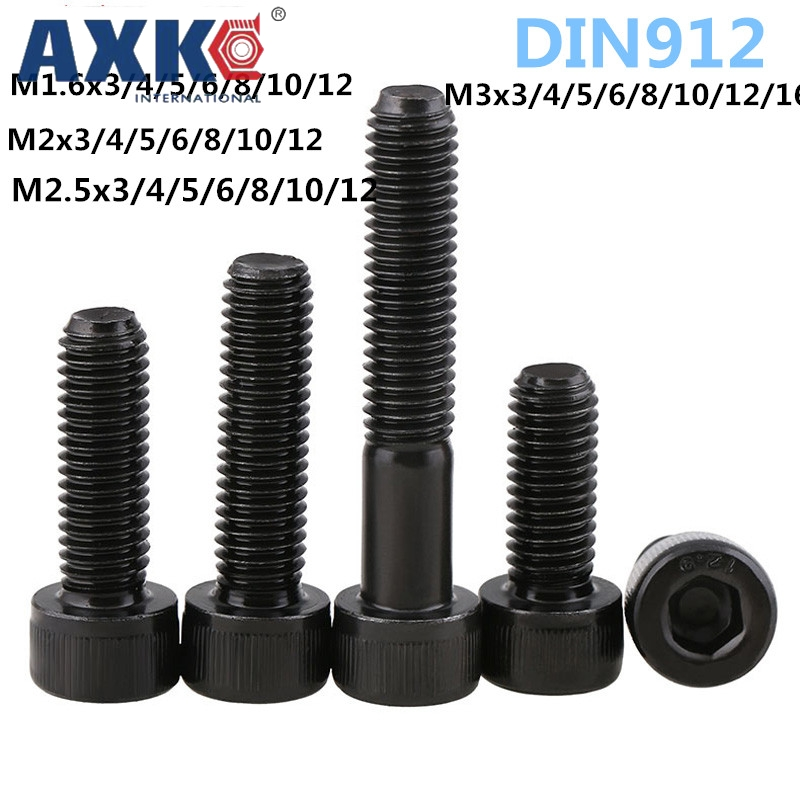 AXK 50Pcs M1.6 M2 M2.5 M3 DIN912 Black High-strength 12.9 Level Alloy Steel Hexagon Socket Head Cap Car Furniture Screws niko 50pcs chrome single coil pickup screws