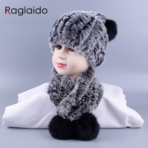 Image 4 - 4 10y Girl boys Knitted Real Rabbit Fur Hats Scarves Set Winter Genuine Natural Fur Cap with balls pompom beanies  scarf LQ11260