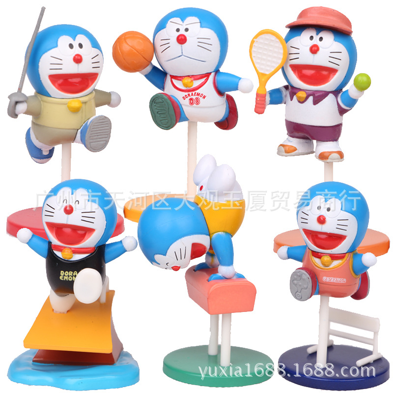 6pcs/set 5cm Doraemon Anime Action Figure PVC Collection Model toys brinquedos for christmas gift free shipping