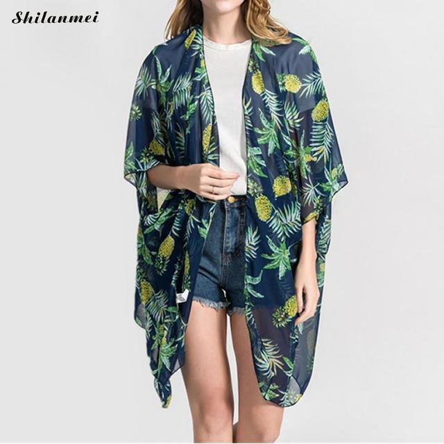 eb645e4790496 New Arrival Women Blouse Pineapple Print Kimono Cardigan Fashion Irregular  Side Slit Summer Cardigan Beach Boho Long Kimono