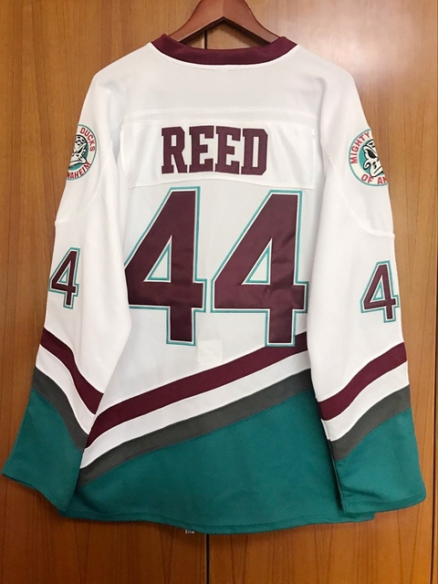 EJ Mighty Ducks Movie Jersey  44 Fulton Reed Hockey Jersey Stitched All  Sewn White 98d0aeba9fb
