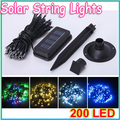 1pcs 6 color 205CM 200 LED Solar String Light Christmas Wedding Party Garden led strip Lights