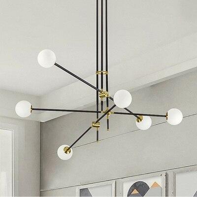 LED nordique minimaliste pendentif lumière réglable fer verre boule pendentif lumières salon chambre décor fixations de luminaire à LED