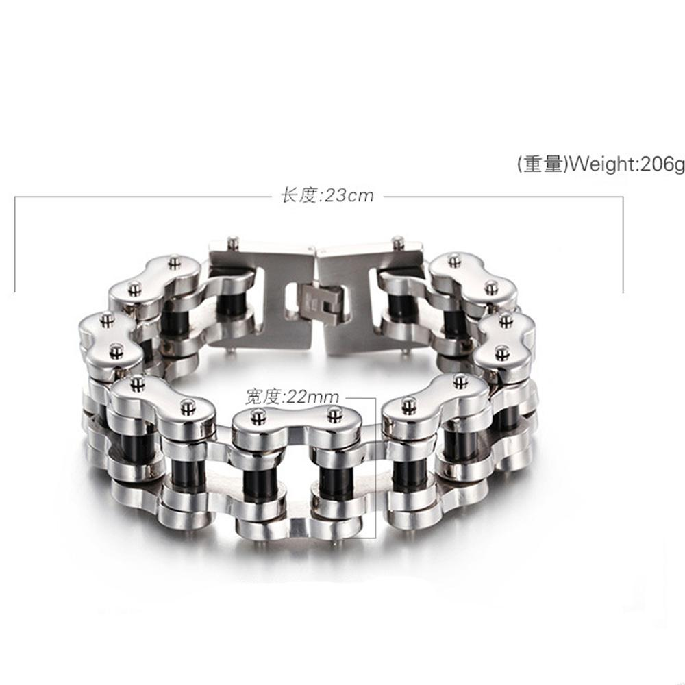 Fashion 22mm 23cm Silver Black Stainless Steel Bike Bracelet Men Biker Bicycle Motorcycle Chain Bracelets Bangles Jewelry in Chain Link Bracelets from Jewelry Accessories