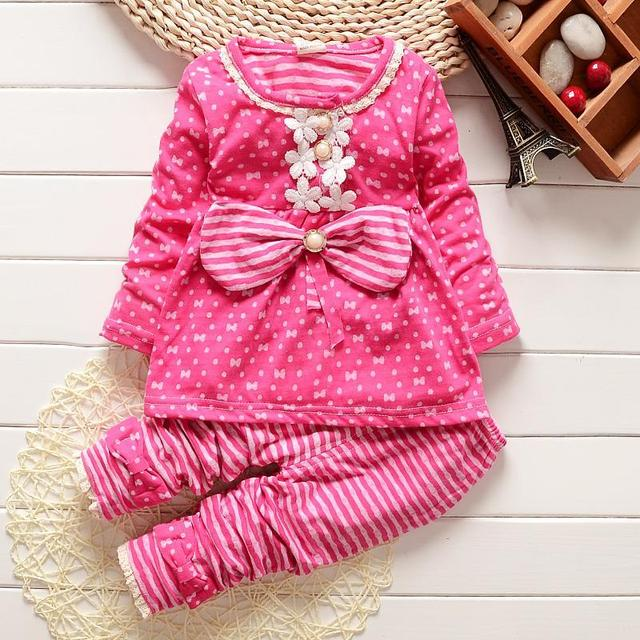 Children Girl clothes sets long sleeve sweatshirt and Pants Kids clothing set 2016 spring autumn sport suit