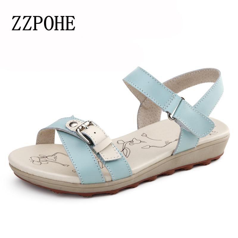 где купить ZZPOHE 2017 Summer new women fashion sandals casual comfortable flat beach sandals woman soft sandals Girl Soft bottom sandals дешево