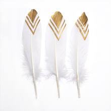 wholesale 10Pcs/Lot Gold goose feathers for Crafts plume Party decorative 15-20cm DIY Natural feathe jewelry making Home Decor