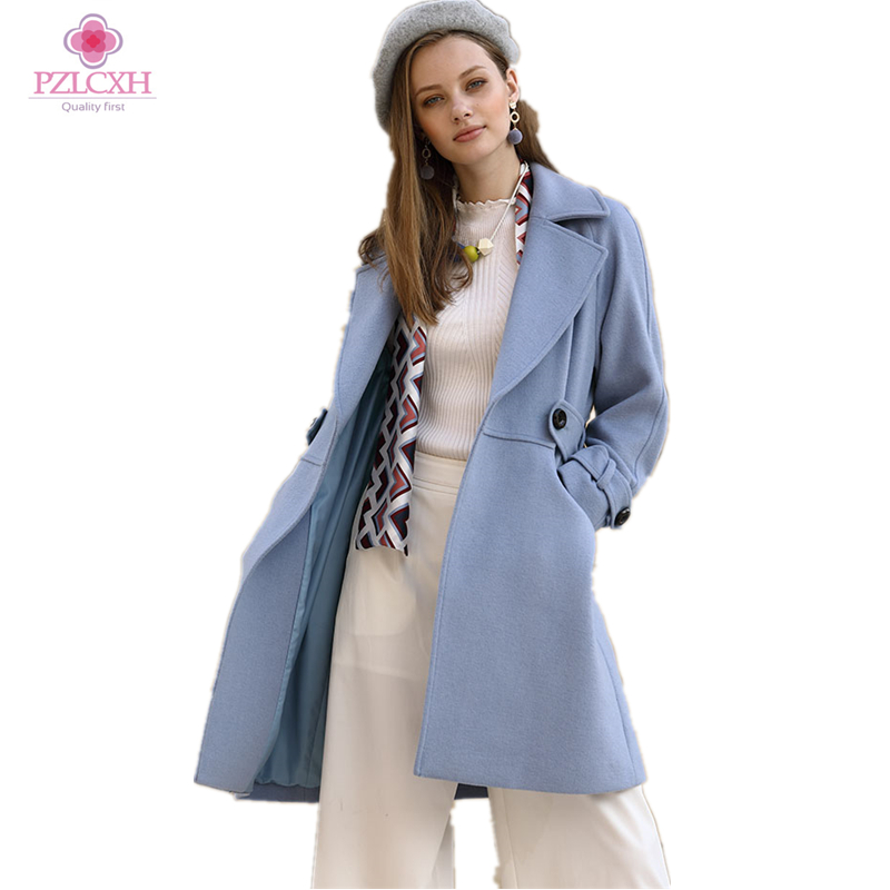 PZLCXH 2017 New Lapel Section Long Side Of The Autumn Winter Wool Coat Thicken Jacket Loose Fashion Coat Single breasted ZL0890