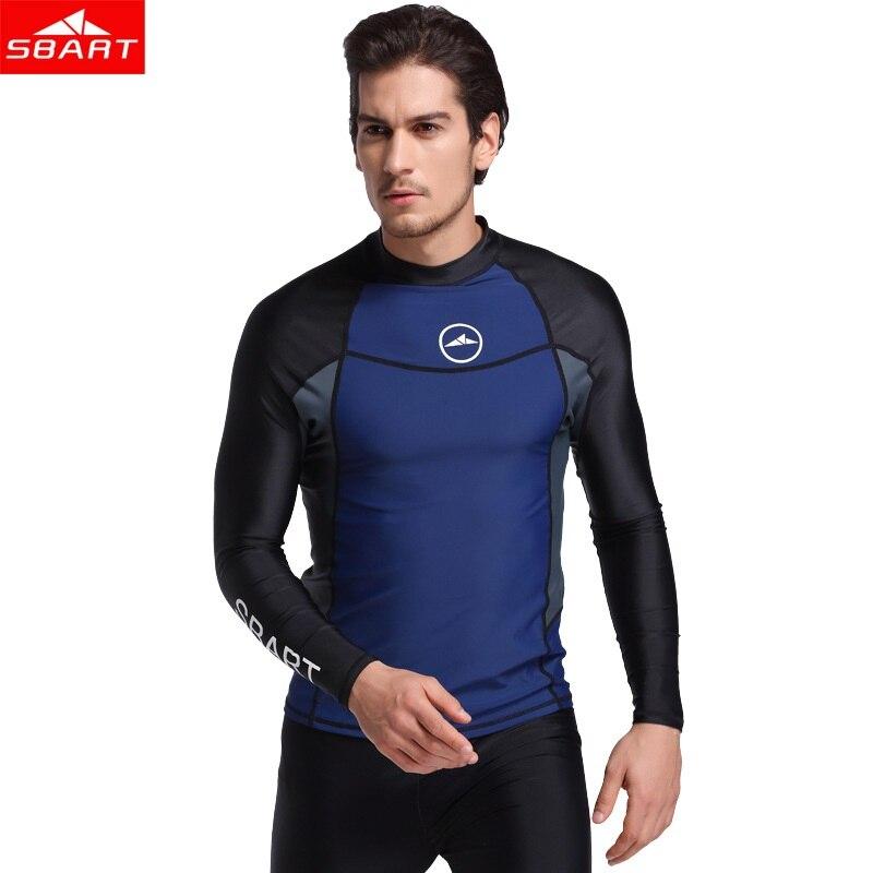 fe7537772fa9 SBART 2018 nuevo upf 50 natación Rash guardia hombres de manga larga  Camisetas de natación Anti UV Rashguard Topsr más tamaño hombres lycra T  camisa
