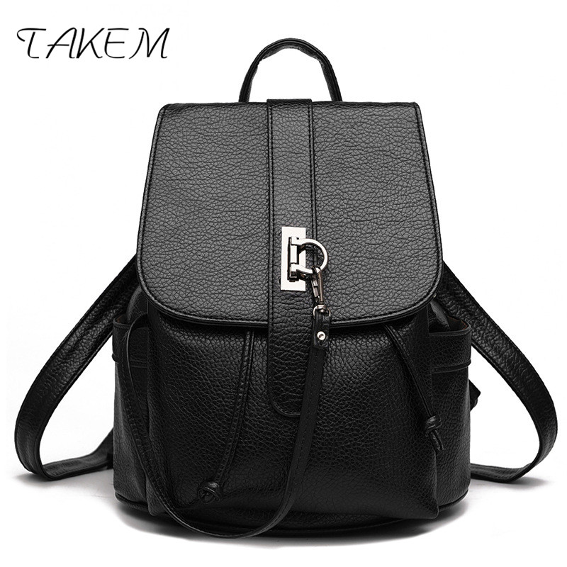 все цены на TAKEM 2018 Women PU Leather Backpacks School Shoulder bags Teenage Fashion student casual girls college bag Moto Blker for lover онлайн