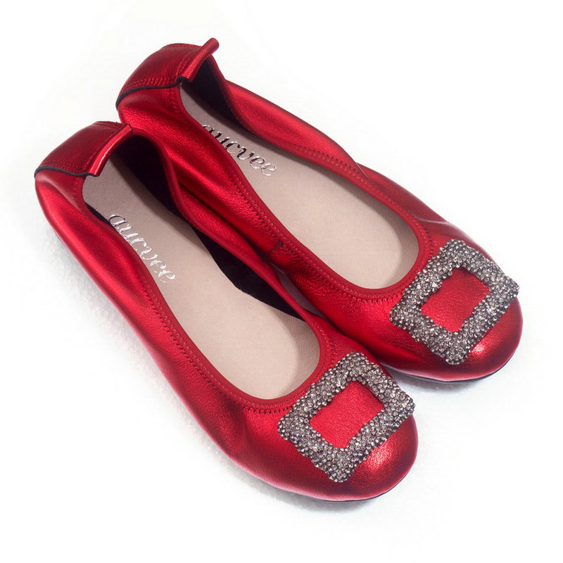 Spring Autumn Metal Blue Slip On Lady Low heeled Pearl Shoes Genuine Leather Metal Decoration Soft