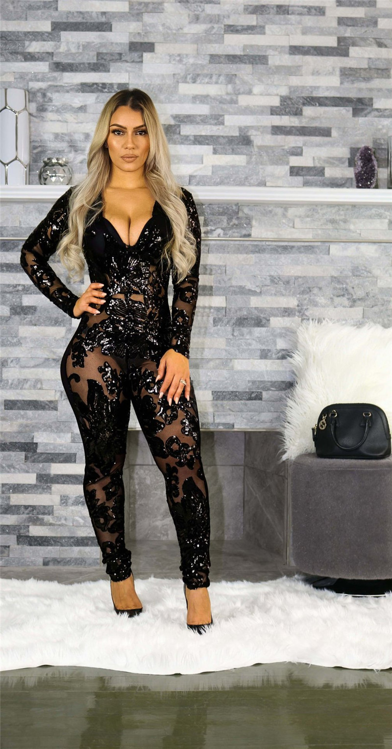 3880d2f66295 2019 See Through Black Sequin Jumpsuit Women Long Sleeve Sparkly ...