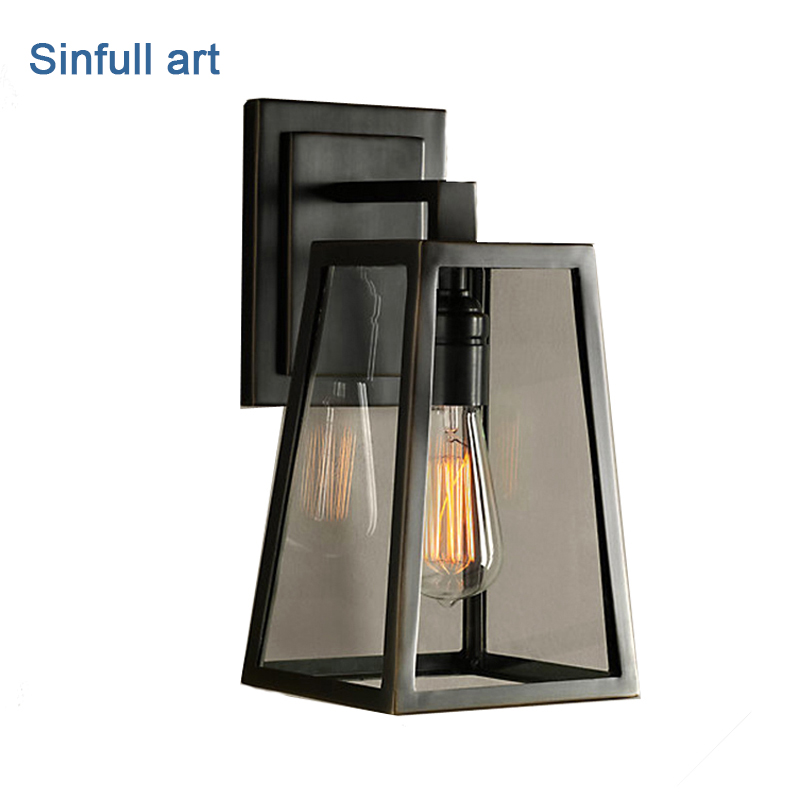 American vintage wall lamp loft Style outdoor wall light bedside e27 Black sconces glass shade Retro home industrial lighting цена