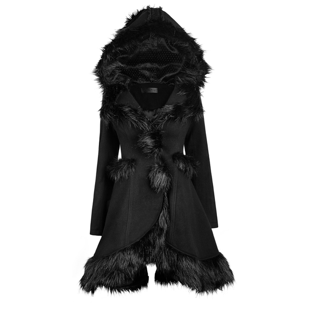 PUNK RAVE Gothic Lolita Women Hooded Fur Coats Steampunk Fashionable Black Long Sleeve Warm Long Jackets Outerwear Coat