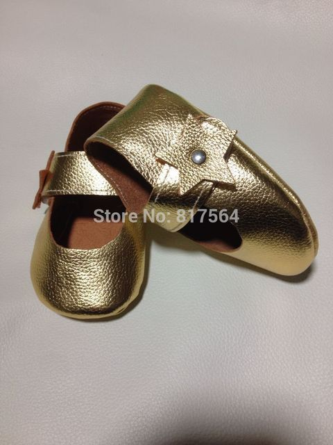 Gold cute pentagram flower baby moccasins butterfly knot genuine leather soft sole prewalker toddlers/infants baby shoes