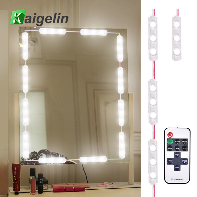 60 LEDs Makeup Front Mirror Light Kit Dimmable RF Wireless Remote Control Bathroom Wall Lamp Strip Light For Mirror Lighting