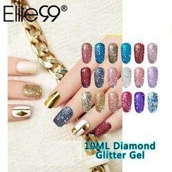 Elite99 10ML Diamant Nagel Gel Glitter LED UV Gel Maniküre Glänzenden Pailletten Soak Off Gel Nagellack Vernis Semi permanent Gellak
