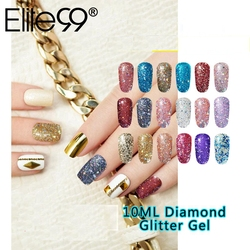 Elite99 10ML Gel de uñas de diamante brillo LED UV Gel de manicura lentejuelas brillantes remojo de Gel esmalte de uñas Vernis Semi permanente Gellak