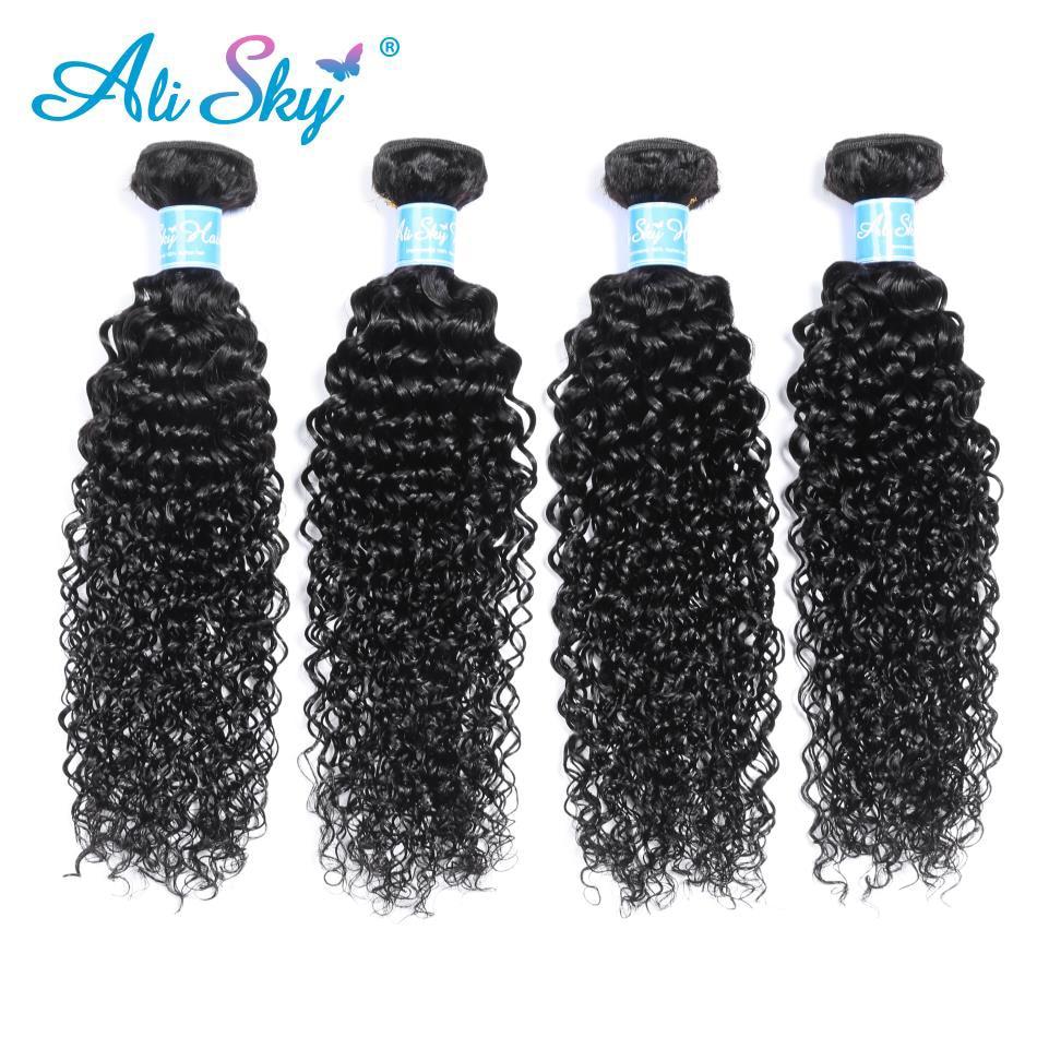 Ali Sky 4 Bunldle Mongolo Afro Crespi Capelli Ricci Tessuto 100% - Capelli umani (neri)