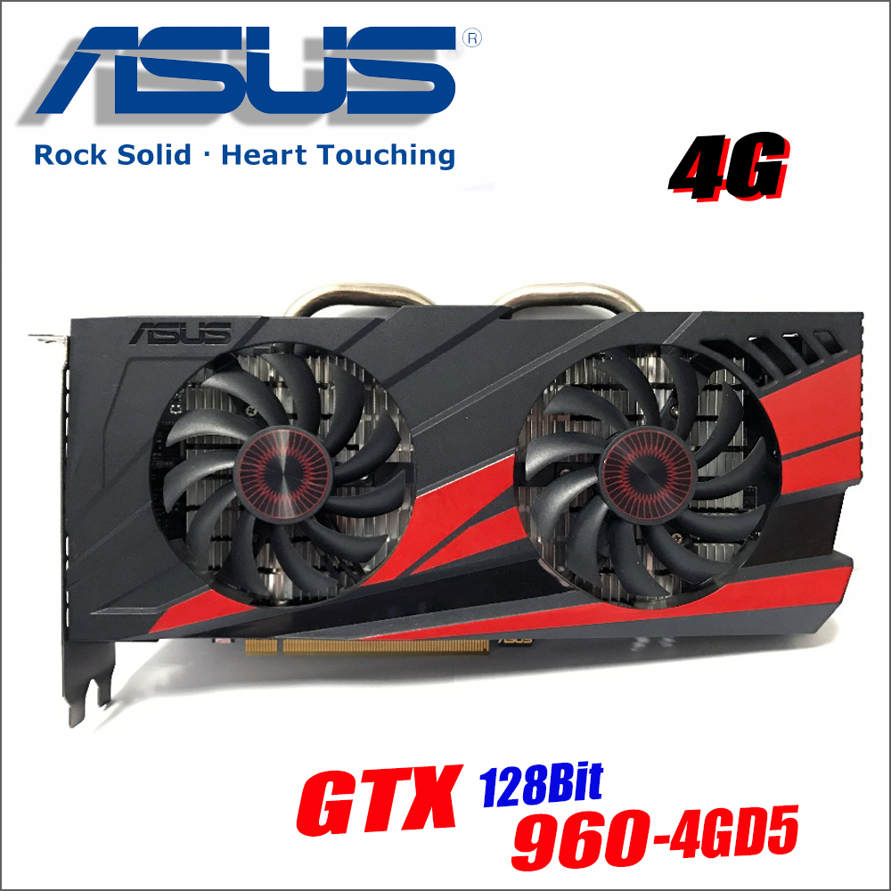 Original ASUS GTX960-DC2OC-4GD5 Video Card GTX 960 4GB 128Bit GDDR5 Graphics Cards for nVIDIA VGA Geforce Hdmi Dvi gam GTX960 4g super bowl ring 2019