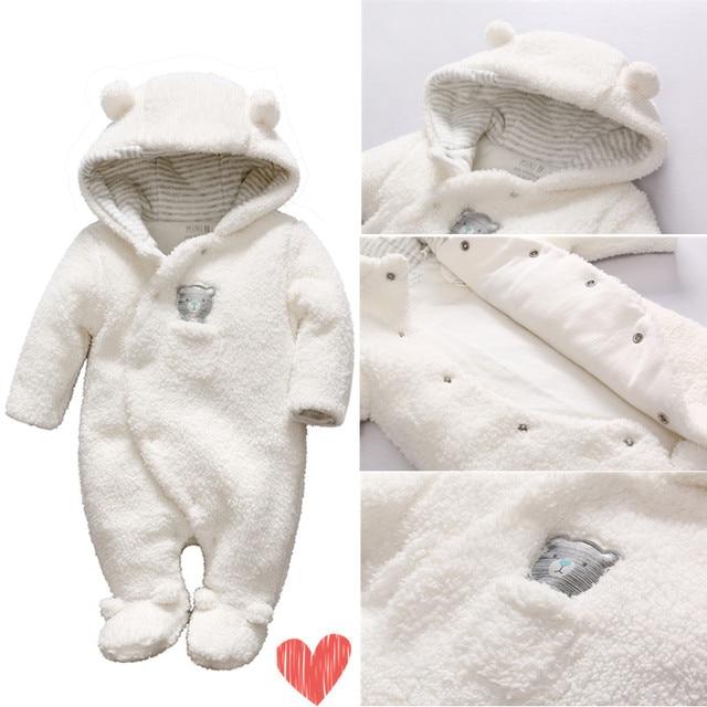 e166cd75b6b2 2018 Newborn baby Fleece clothes bear onesie baby girl boy rompers ...