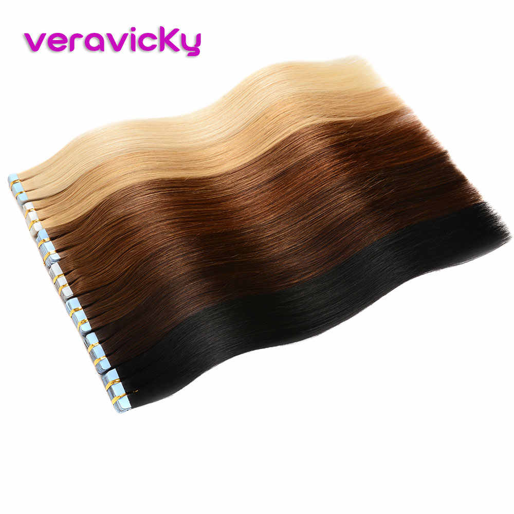 Tape Hair Extensions Human Hair Ombre Straight European Remy On Adhesive Invisible PU Weft 20pcs Natural Human Hair Extensions