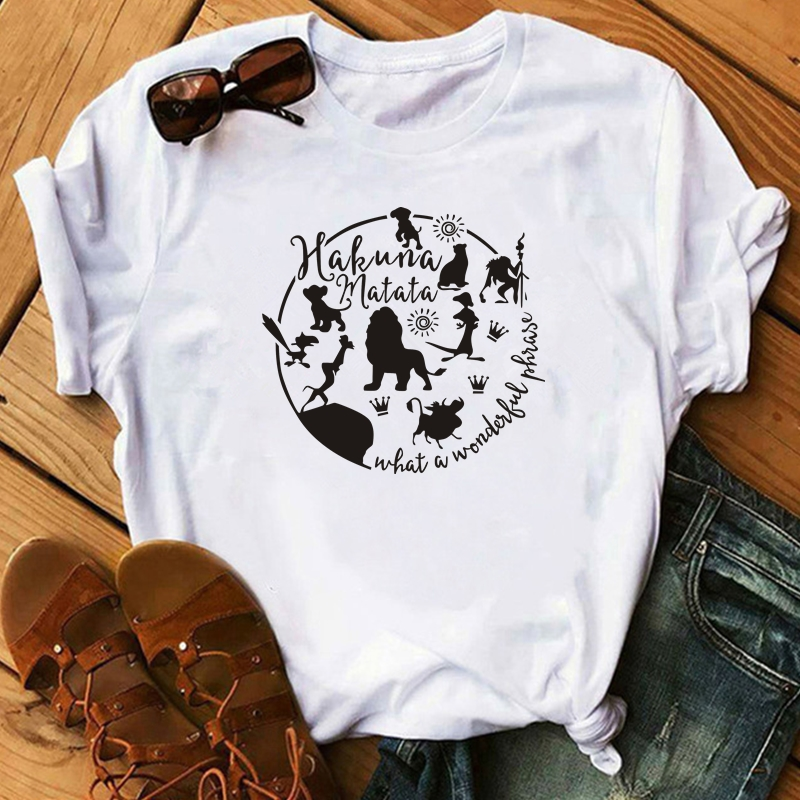 Hakuna Matata Shirt Women Harajuku Ullzang The Lion King T-shirt Femme Homme Summer Tshirt Fashion Top Tee Female T Shirt
