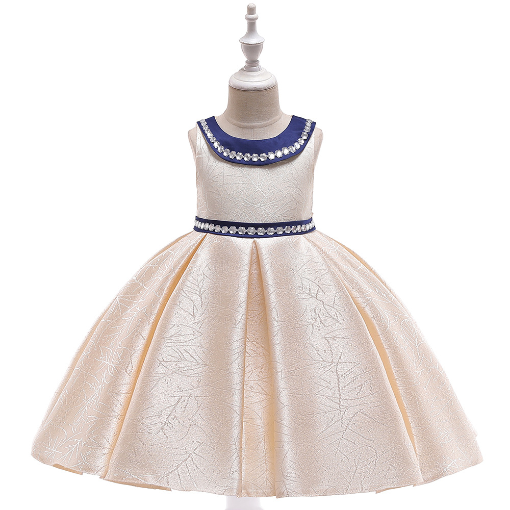 Dashing Flower Girls Birthday Banquet Satin Bling Dress Elegant Girls Wedding Beige White Jacquard Dress Frocks For 4 6 8 10 Years Preventing Hairs From Graying And Helpful To Retain Complexion Girls' Clothing