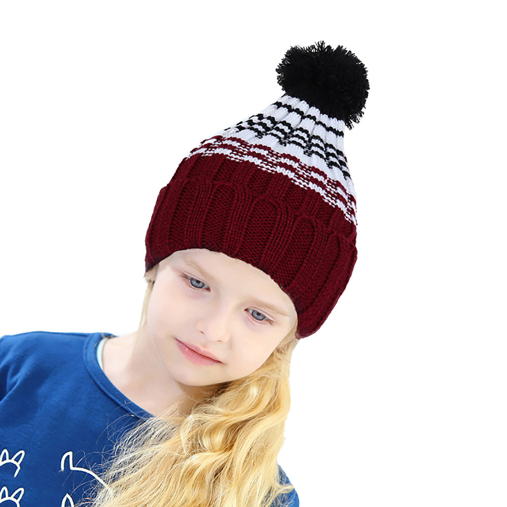 Top sale!!! Children Baby Boy Girl Casual Fashion Keep Warm Winter Hats Knitted Wool Hemming Hat for over 5 years old kids ##JD