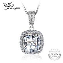 JewelryPalace Cushion 3ct Halo Solitaire Pendant Solid 925 Sterling Silver Women Wedding Jewelry Big Promotion Without a Chain
