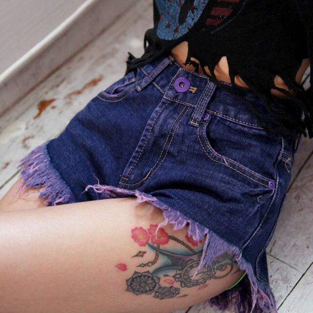 2015 Purple punk rock denim shorts jeans for women