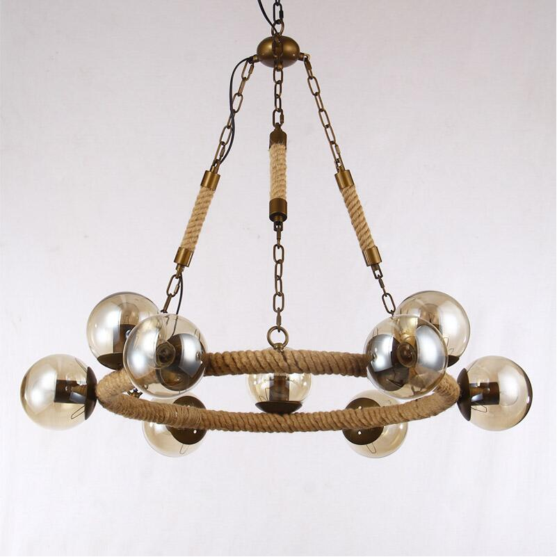 vintage modo pendant lights hemp rope iron art pendant lamp amber glass lamp shade hanging lamp amber pendant lighting
