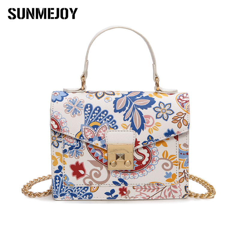 SUNMEJOY Fashion Floral Printed Flap Handbags Ladies Locks Chain National Style Crossbody Bags Small Top handle