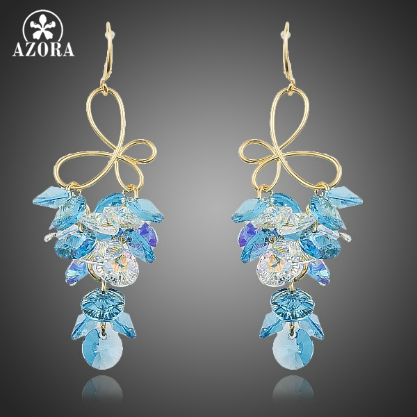 AZORA Gorgeous Gold Color Knot Cluster Gradual Change Stellux Austrian Crystal Drop Earrings for Women TE0196