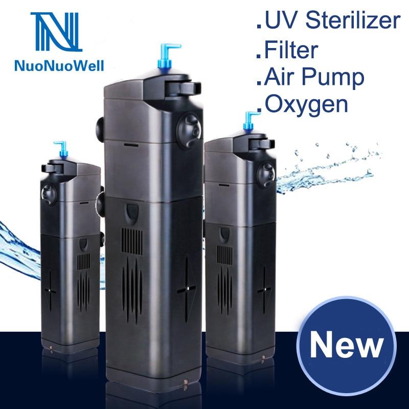 NuoNuoWell 8W 220V Filtration +Submersible Pump +UV Sterilizer Aquarium Fish Tank Supplies