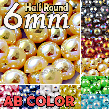 6mm 400pcs/Lot Mix Colors AB Half Round Flat back Bead imitation ABS Plastic beads for DIY Nail Art Fashion Jewelry Accessories