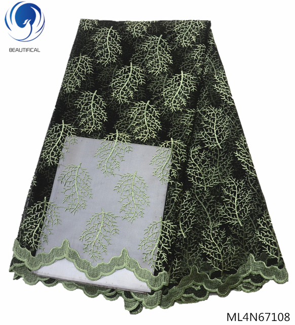 BEAUTIFICAL embroidery nigerian lace fabrcs 5 yards free shipping latest nigerian african lace ML4N671