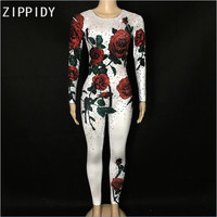 3 Colors Multicolor Rose Flowers Jumpsuit Evening Party Stretch Rhinestones Costume Stage Wear Rhinestone Celebrate Bodysuit