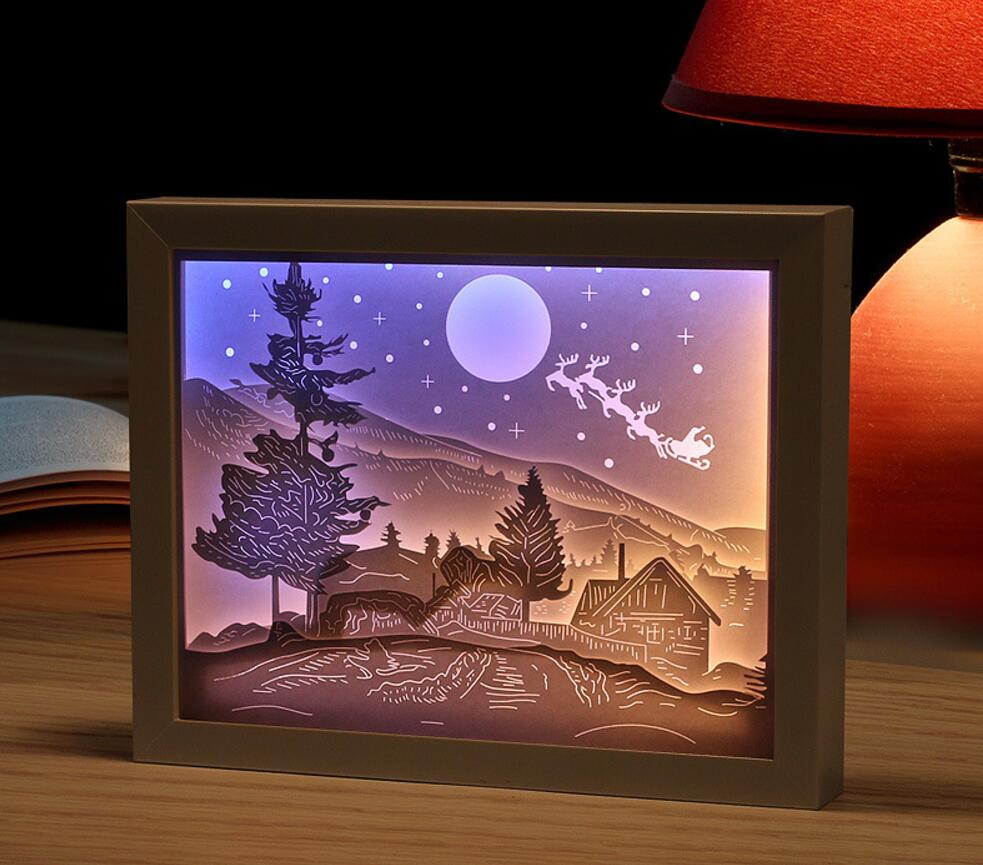 USB צבעוני 3D צל איילים לחתוך בית מסגרת תמונה נייר אור בלילה לבית לקשט משרד מזכרות מתנת יום הולדת לטובת