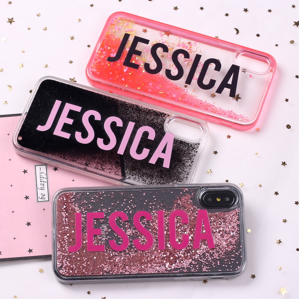 Liquid Glitter Sparkle Luxury Fashion Name Letter For iPhone 6 6S XS Max 7 7Plus 8 8Plus X Soft Phone Case Custom Personalized in Fitted Cases from Cellphones Telecommunications