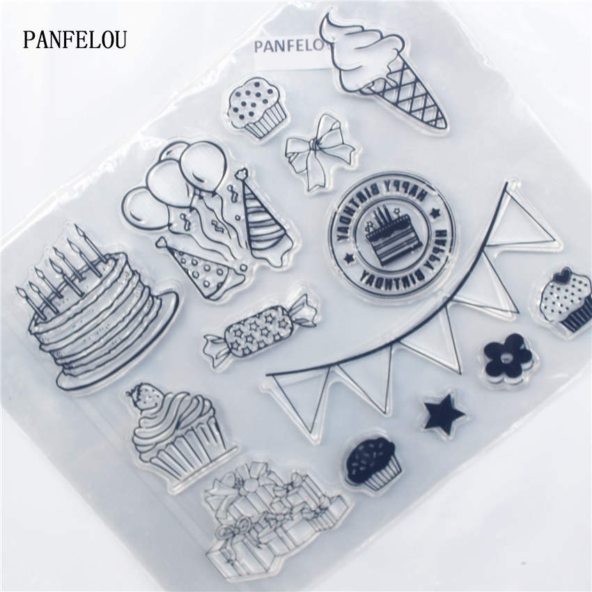PANFELOU Happy birthday Transparent Clear Silicone Stamp/Seal DIY scrapbooking/photo album Decorative clear stamp sheets lovely animals and ballon design transparent clear silicone stamp for diy scrapbooking photo album clear stamp cl 278