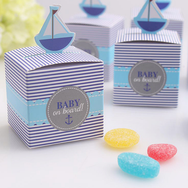 10 Pcs/set New Baby On Board! Pop-Up Sailboat Baby Candy Box Blue Birthday Party Baby Sh ...