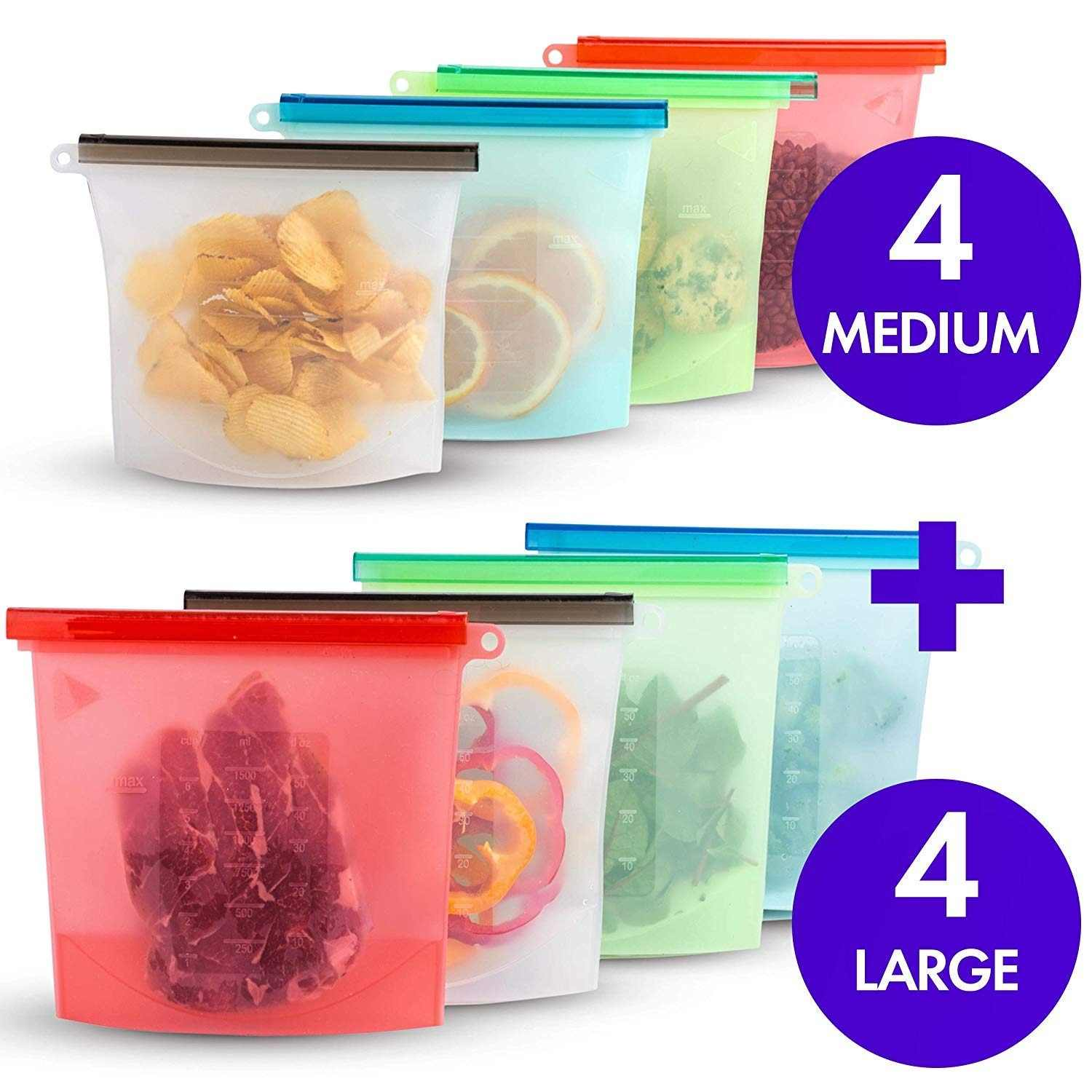 1000ml 1500ml Silicone Storage Bag Reusable Silicone Food Storage Bags For Food Seal Ziplock Freezer Cooking Fresh Bags