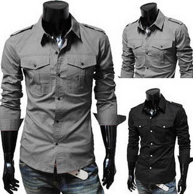 2f253afd341698 Man s Casual slim Blouse shoulder strap design Two Pocket men fashion long  sleeve Shirt 2015 New style