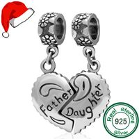 1pc Father Daughter Love Heart 925 Sterling Silver Charms Pendant Fit Bracelets Necklaces