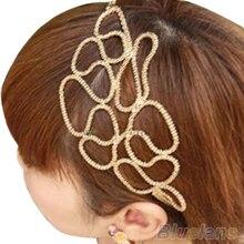 Hot Adorável New Ouro Metálico Braid Trançado Oco Elastic Estiramento Faixa de Cabelo Headband 0J2O