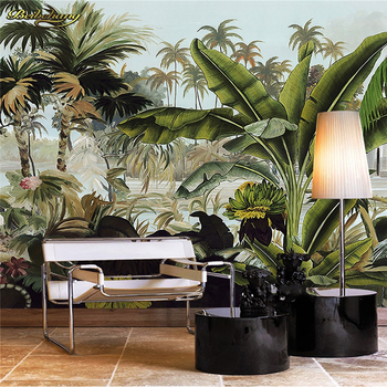 beibehang Custom Photo Wallpaper Large Mural Wall Sticker Green Coconut Tree Tropical Rainforest Plant Background Wall hand painted tropical rainforest plantain wall custom high end mural factory wholesale wallpaper mural photo wall