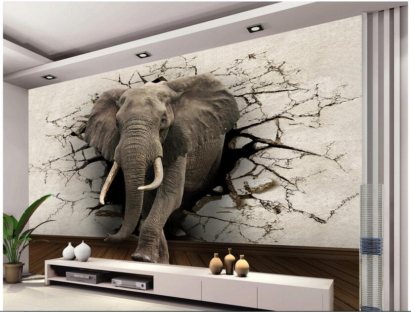 3d Wallpaper Custom Photo Non-woven Mural Home Decoration The Elephant Break The Wall Painting Picture 3d Room Murals Wallpaper
