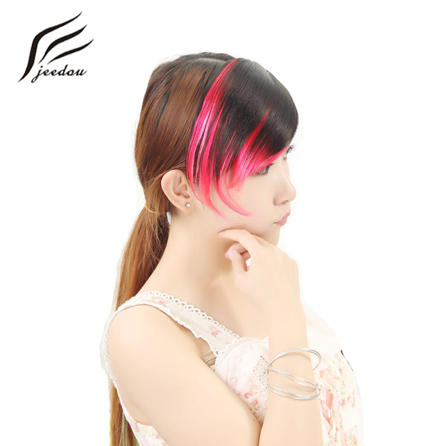 Jeedou Synthetic Hair Fake Bangs Oblique Fringe Straight Hair Bang